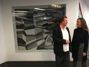 Beatrix and Dietmar Hollenstein in front of their installation