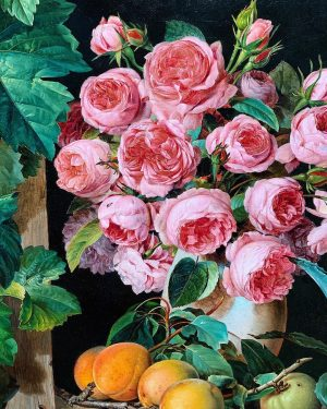 Ferdinand Küss - Still Life with Roses and Apricots. (Looks like peonies to me tho) #rubensbismakart