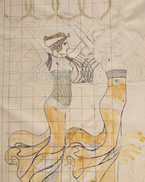 "A sketch of Koloman Mosers ""Reigen der Kranzträgerinnen"" (""Dance of the Wreath-Bearing Maidens"") is currently on view..."