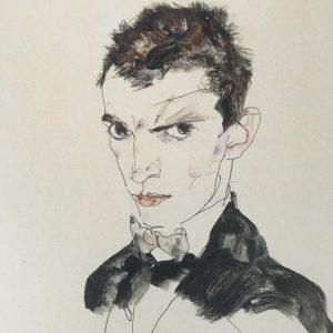 Egon Schiele, Self-Portrait(detail), 1912, shortly after his prison escapade. Self-Portrait show opens Feb. 28. @neuegalerieny #egonschiele Neue...