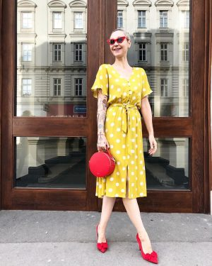 #lookoftheday ❤️ Ingrid #wearing our #newin #polkadots #dress for €79,- by #sweeweparis along with #highheels for €49,-...