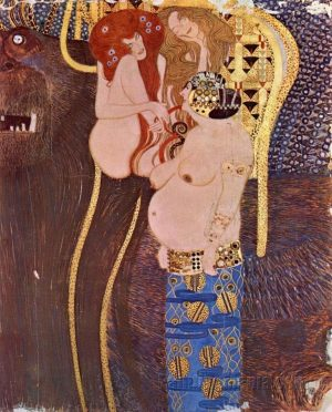 🖼️ Gustav Klimt, Central narrow wall (detail): Unchastity, Lust and Gluttony, 1902, @viennasecession ...