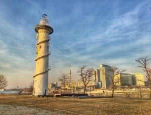 Lighthouse on the Donauinsel (Danube island) Vienna, Austria. . . . . #donauinsel ...