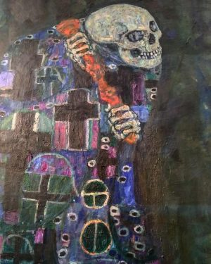Klimt today! And I insisted on painting the skull in the museum because ...