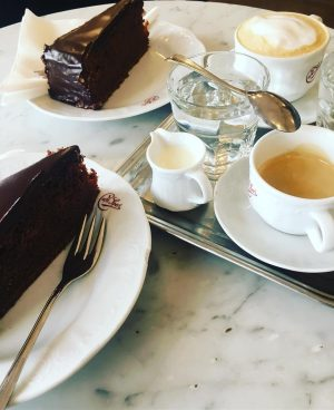 Delicious Viennese Sachertorte- watch calories when back #foodie#foodporn#foodphotography#sachentorte#austrianfood#instagood#instagay#travelphotography#Vienna#Wien#rubeuz