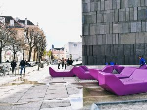 Violet furniture this year in the courtyard of @MQWien Museum Quartier, Vienna Austria