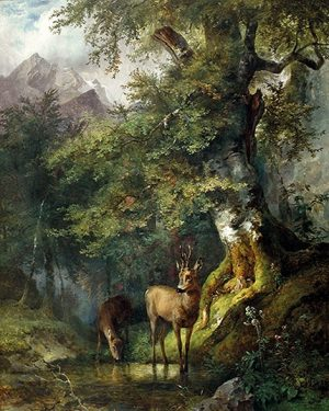 """Sie wollten immer schon einen """"Gauermann"""" haben? Dieses meisterlich gearbeitete Gemälde """"Waldlandschaft mit zwei Rehen an der..."""