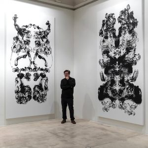 fabulous Mark Wallinger in his exhibition - Upside down Inside out Back to Front #soloshow #painting #blackandwhite...