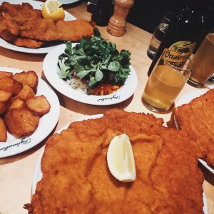 The famous schnitzel in Vienna. Look at the size of that thing! Figlmüller