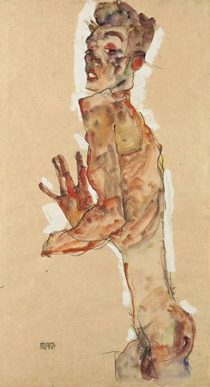This is one of my favorite self-portraits by Egon Schiele. The expression in ...