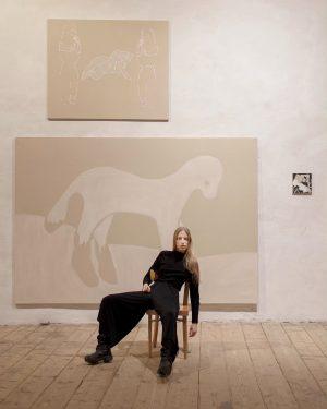 #anouklammanouk «Neue Wiener Ernsthaftigkeit» exhibition @abstractpaintingvienna, Prof. @erwin_bohatsch 📷 @marie_haefner Semperdepot