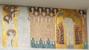"""Gustav Klimt's Beethoven Frieze provoked many different opinions when the then temporary exhibition opened: """"Aber hier hört..."""