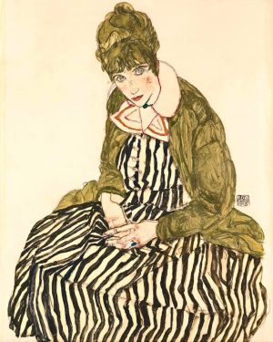 🖼️ Egon Schiele, Edith with Striped Dress, Sitting, 1915, 🏛️ @leopold_museum During the ...