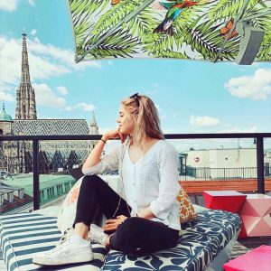 Enjoying the view over the rooftops of Vienna from the @hotellameevienna rooftop bar ...