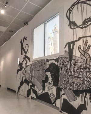 """Mural @wienmuseum with view to the church """"Karlskirche"""" #wienmuseumtakeover #karlskirche #mural #streetart #streetphotography #exhibition #vienna #streetartporn #anglaillustration"""