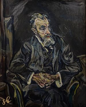 . 'The portrait of Carl Moll' The brushstrokes are dark and fragmented, and the character is angular...