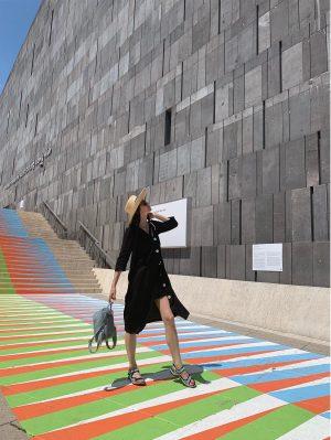 Carlos Cruz-Diez @ghc_carloscruzdiez created 'Promenade Chromatique Vienne', 2019