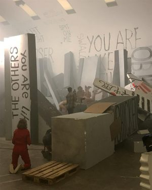 Working last week with #gelatin and #liamgillick at #kunsthallewien on filming of #stinkingdawn ...