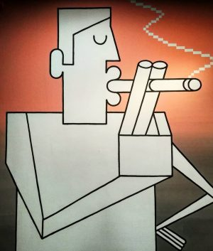 Smoking man #wienmuseum #takeover #graffity #wien #vienna #museum #twocolors #man #smoke #smoking #shapes #cigarette #visitvienna #streetart #art