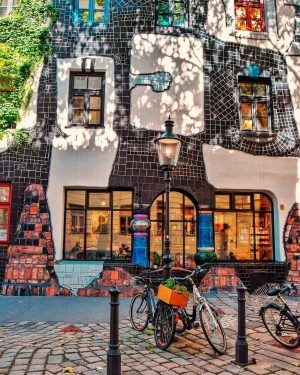 The picturesque Hundertwasserhouse - it bears the unmistakable hand of the artist Friedensreich Hundertwasser. It was built...