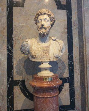 The marble bust of the emperor Marcus Aurelius, Kunsthistorisches Museum, Vienna.
