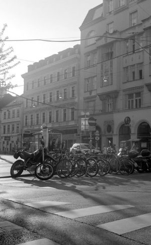 Walking around Vienna with a 1930s foldable 6x9cm Zeiss Ikon Nettar. Its 105/3.5 ...