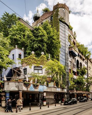 More than 200 trees and shrubs on the balconies and roof terraces make the Hundertwasserhaus - designed...