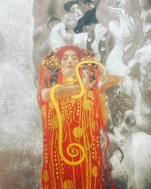 "Seeing Hygieia on my last day in Austria. ""Medicine"" by Gustav Klimt. 🐍☸️🙏🏽"