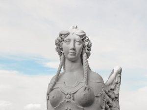 Fallen one. #statue #sky #clouds