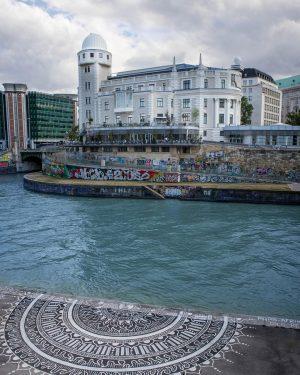 Street art next to the art nouveau building Urania at the Donaukanal. 🏛☀️🍀☕️🚶♂️🙌 ...