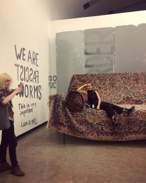 """exploring Gelatin's and Liam Gillick's """"Stinking Dawn"""" movie set and checking out """"Hysterical ..."""