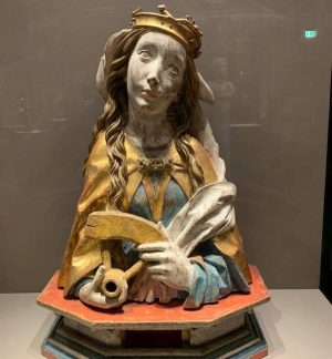 Saint Catherine rolling her eyes