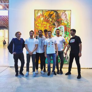 Boys and Art🖼 #art #viennacontemporary #fun #jonathanmeese #boys #painting #badboys #crazy
