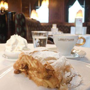 到维也纳怎么可能错过苹果卷饼?挺粗犷的甜品,甜度倒不是很高。#foodie #apfelstrudel #vienna #cafe