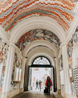 Red Riding Hood in the Viennese passages. ________ #vienna #austria #wien #museumquartier #passage ...
