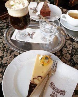Dessert for today: Klimt cake and Mozart coffee. Money well spent. #wien #vienna ...