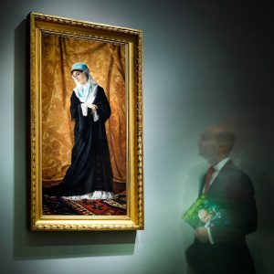 The rare painting of a Turkish Lady, by Osman Hamdi Bey (1842-1910), was sold this evening at the 19th...