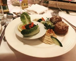 Yesterday's wedding dinner day 16 💍- Starter falafel with hummus and eggplant purée ...