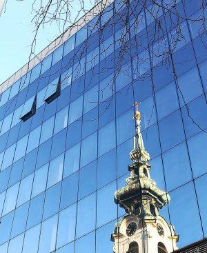 REFLECTION #wien #glass #curtainwall #facade #reflection #steeple