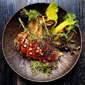 Black feather chicken. Mustard salad. Herbs. Aubergine. Pine nuts. 6yrs aged soy sauce glace. #onthemenusoon #oboufés #teamkonstantinfilippou...