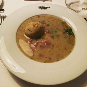 Goose Liver Soup and Wiener schnitzel (Veal) Plachuttas Gasthaus zur Oper