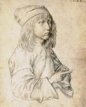 автопортрет Дюрера в 13 лет, 1484 год. супер рука и глаз сына ювелира. выполнен серебряным карандашом, который...