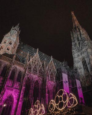 Al nostro arrivo Vienna ci accoglie così. Il Duomo di Santo Stefano illuminato da bellissime luci rosa....