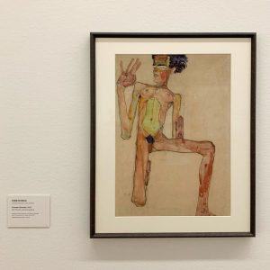 Self-portrait as kneeling nude in 1910 by #egonschiele Leopold Museum