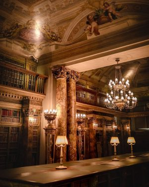The library at the Liechtenstein GARDEN PALACE with its magical atmosphere serves as a setting for talks...