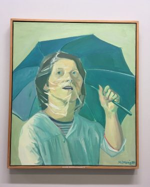 "Maria Lassnig, ""Self-Portrait with Umbrella"", 1971. Albertina Museum"