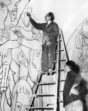 Jean Cocteau Works On The Mural Albertina Museum