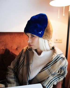 Mühlbauer | #hatpeople with VARIA ▪️EGON is a #bonnet in golden and royal Blue lamb shearling. This...
