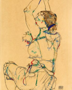 Woman with Raised Arms, by #Austrian artist #EgonSchiele, exhibits the stylization typical of his work in 1914....
