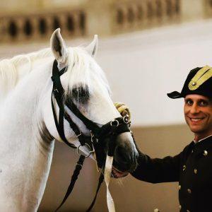 Rider Philipp Burg and Maestoso Theodorosta very satisfied after the performance yesterday. #spanischehofreitschule #lipizzaner #rider #horses #viennatouristboard...